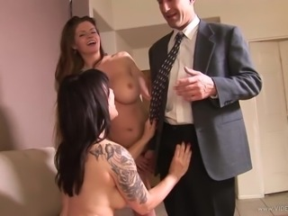 Precious milf with big fake tits giving enticing blowjob in epic ffm threesome