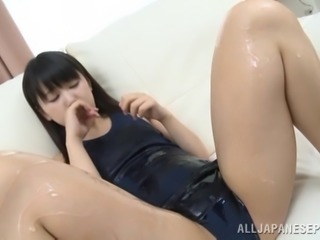 Asian Teen Gets Her Natural Body Covered In Oil For The First Time