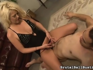 Sensual blonde gets her sexy feet licked and works her teeth on a dick