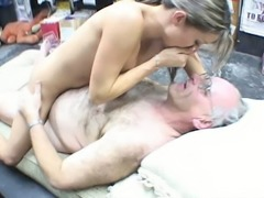 Cuddly blonde babe Jane is fucking old grandpa in public