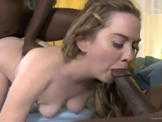 White honey gets pounded by two black cocks in MMF interracial threesome