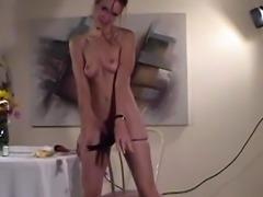 Babe masturbates with fingers and banana