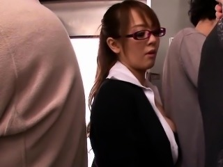 Busty jap babe cocksucks and jizzed in public