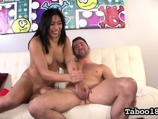 Busty Asian babe Mia Li uses her talented hands to jerk him off