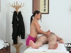 Big breasted Thai bitch provides horny white man with solid BJ after massage