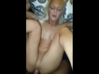 Pretty Blonde Tries to Make Boyfriend Cum