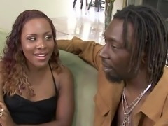 Ms. Platinum gets her oiled ebony twat fucked and creampied
