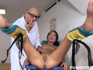Delightful brunette has a kinky doctor punishing her tight anal hole