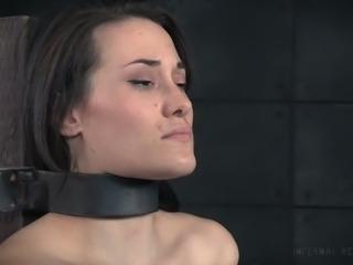 Wild BDSM man exploits tightly bound boobies of sexy brunette bitch Rylie Kay