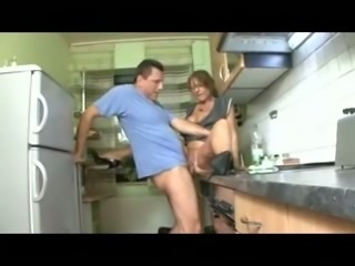 Lewd housewife sucks my dick in the kitchen and gets fucked hard