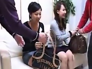 Two attractive Oriental babes get picked up by a pair of ho