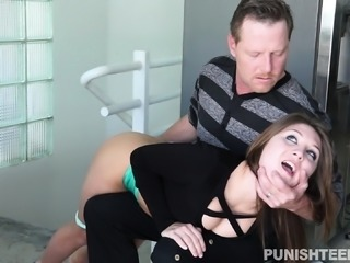 Busty young slut with a superb ass gets pounded rough by an older guy