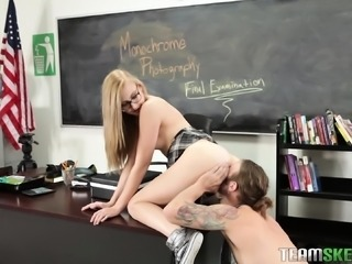 Student Alexa lets her teacher take pictures before sucking and fucking him