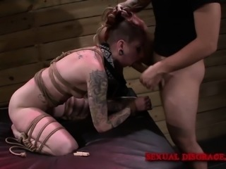 Sheena Rose and friend are tied up and get a real rough face fucking