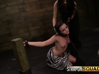 Brooklyn Daniels, Mila Blaze and Lexy Villa play with ball gags and dildos in a wild BDSM session
