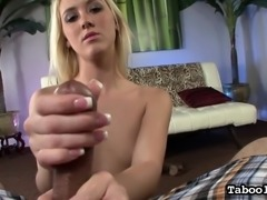 Tiny tit Roxxi Silver jerks him off, poses and fingers her slit