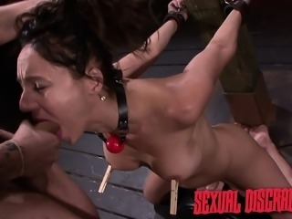 Submissive girl Fiona Rivers rides the sybian and enjoys a long stick
