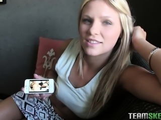 Attractive blonde sensually drops her clothes and fucks her boyfriend