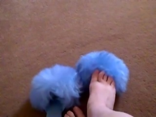 Retro 1970s Fluffy Sheepskin blue Slippers