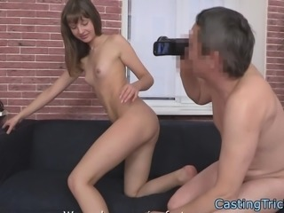 Casting european beauty sprayed with jizz