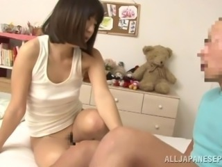 Hungry Asian girl gets a huge cock alarm