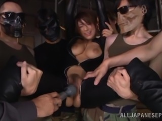 Sweet Nami Hoshino Gets Gangbanged By Men Wearing Frightening Masks