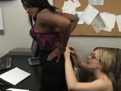 Black lesbian boss facesitting geeky white secretary