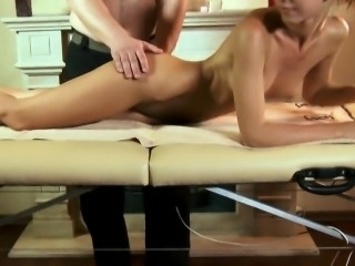 Lovesome chick spreads wet pussy and gets deflorated