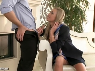 Blonde slut in nylon stockings pounded hard in a doggystyle