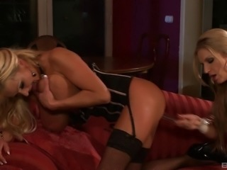 Dazzling blonde milfs in lingerie lube up and have hot sex
