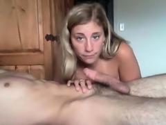 Poor girl blowjob his boyfriend at webcam