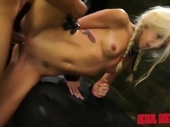 Slim blonde with tiny tits Halle Von fulfills her lust for submission