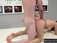 Stacked girl Kacey Quinn takes a rough fucking and a mouthful of cum