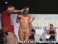 Hot wet T-shirt contest in Miami with babes showing all parts of their bodies
