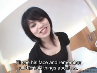 Subtitled pale Japanese unfaithful wife secretly does AV