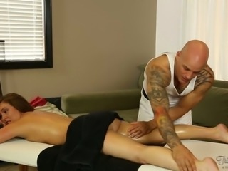 Bald tattooed rubber massages sexy dark haired chick and wishes to tickle her kitty