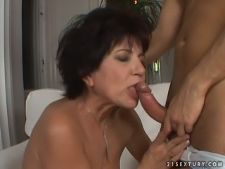Skilled whorish wife gives next door guy deeptroat blowjob