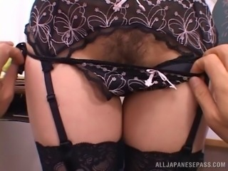 Japanese teacher in sexy glasses fucked by a student in POV