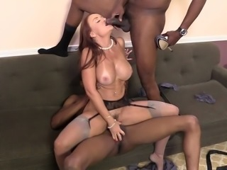 Sizzling Cougar With Big Beautiful Tits Enjoying A Hardcore Interracial Threesome