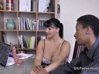 Interracial couple ask older granny to help with facial cumshot