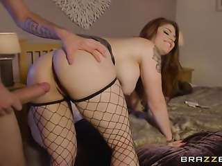 Danny D pops out his rod to fuck Redhead Lucia