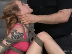 Pushing things in and out of her pussy in a grand bondage adventure