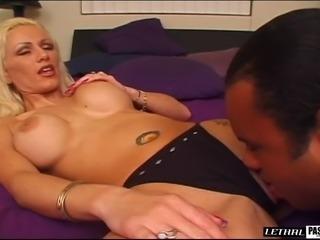 Saucy blonde playgirl with massive tits Nicole pleasures a big boner