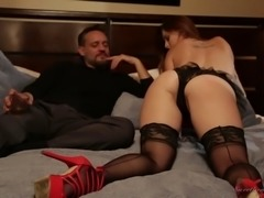 Elegant Karlie Montana plays with her shaved pussy next to the guy