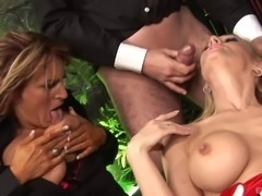 Chicks wearing various costumes getting bonked in a great orgy