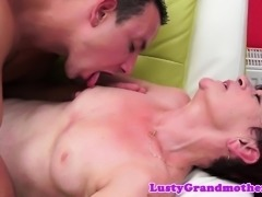 Redhead mature banged and jizzed on belly
