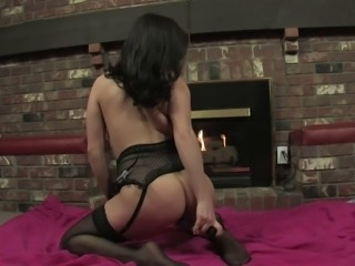 Formidable babe in black takes care of her dripping wet pussy