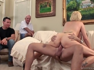 Blonde's new friends are watching her taking the dick up the booty