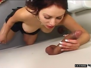 Babe touches her pussy before feasting on a stiff rod