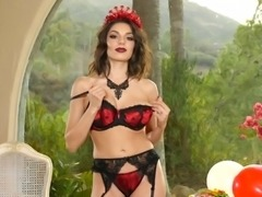 Solo model with shaved pussy fondling her big tits lovely